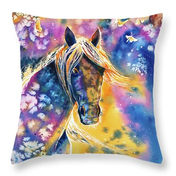 Throw Pillow featuring the painting Sunset Mustang by Zaira Dzhaubaeva
