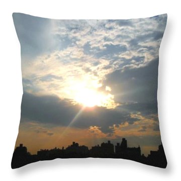 Sunset New York  Throw Pillow by Vannetta Ferguson