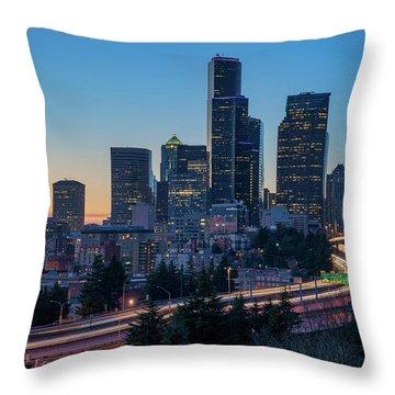 Sunset Night-freeway Lights Throw Pillow