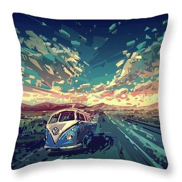 Sunset Oh The Road Throw Pillow by Bekim Art