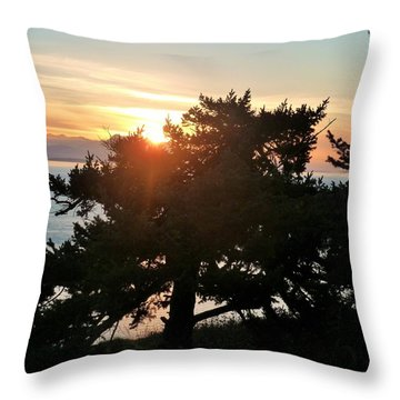 Sunset On A Tiny Tree Throw Pillow by Ann Michelle Swadener