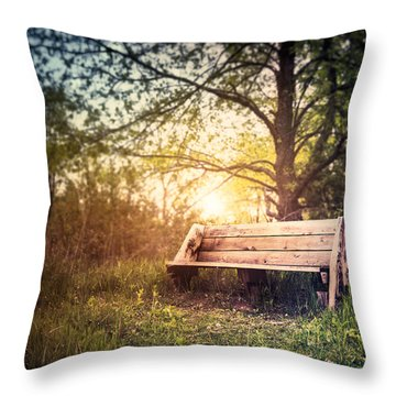 Sunset On A Wooden Bench Throw Pillow