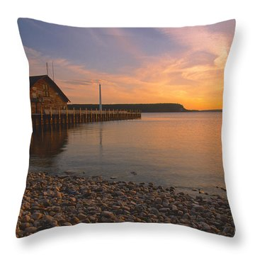 Sunset On Anderson's Dock - Door County Throw Pillow