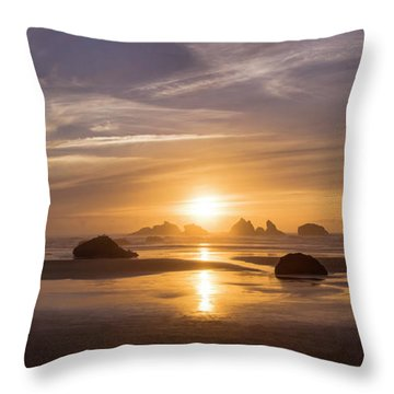 Sunset On Bandon Beach Throw Pillow