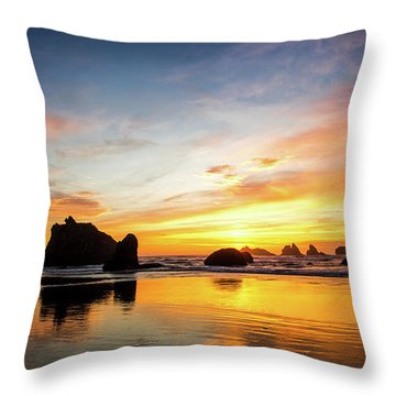 Sunset On Bandon Throw Pillow