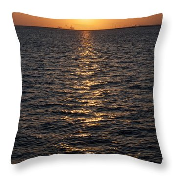 Sunset On Bay Throw Pillow