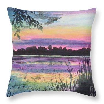 Sunset On Buck Pond Throw Pillow