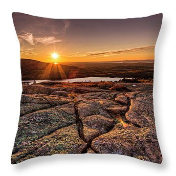Sunset On Cadillac Mountain Throw Pillow