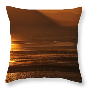 Sunset On Coast Of North Wales Throw Pillow by Harry Robertson