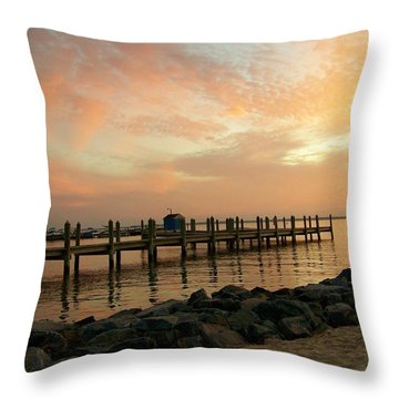 Sunset On Dewey Bay Throw Pillow by Trish Tritz