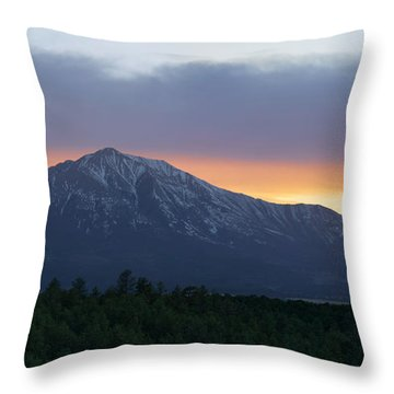 Throw Pillow featuring the photograph Sunset On East Spanish Peak by Aaron Spong