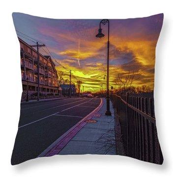 Sunset On Eliot St Milton Ma Throw Pillow
