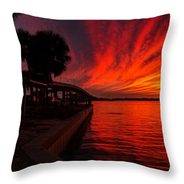 Sunset On Fire Throw Pillow