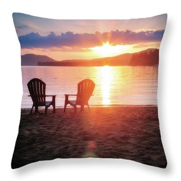 Sunset On Fourth Lake Throw Pillow