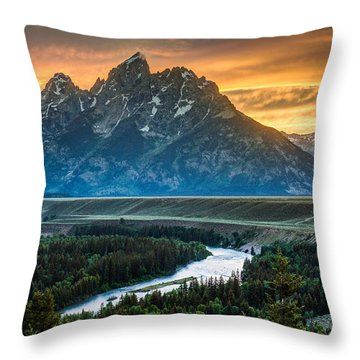 Sunset On Grand Teton And Snake River Throw Pillow by Gary Whitton