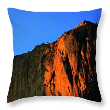 Sunset On Horsetail Fall Throw Pillow by Jim And Emily Bush