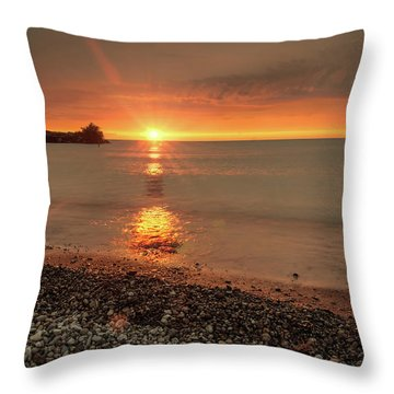 Sunset On Huron Lake Throw Pillow