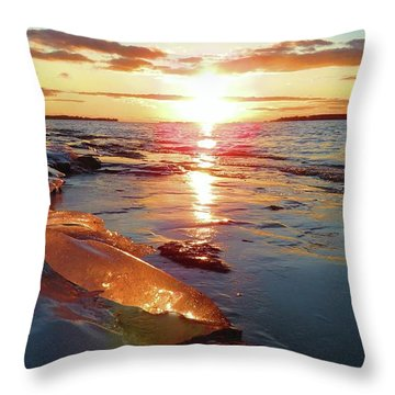 Sunset On Ice Throw Pillow