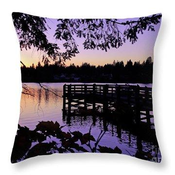 Sunset On Lake Ballinger Throw Pillow by Eddie Eastwood