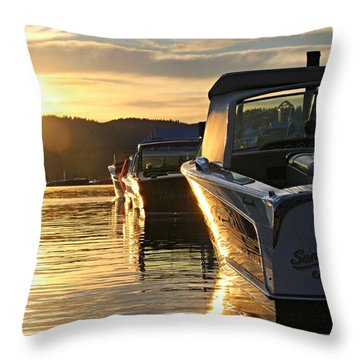 Sunset On Lake Coeur D'alene Throw Pillow