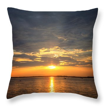 Sunset On Lake Hartwell Throw Pillow by Lynne Jenkins