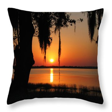 Sunset On Lake Minneola Throw Pillow