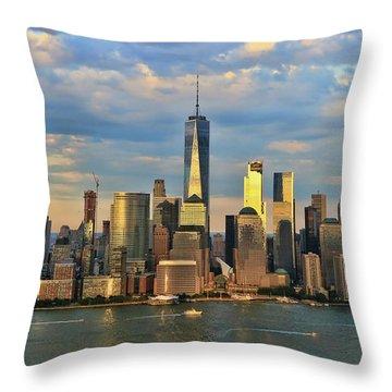 Sunset On Lower Manhattan Throw Pillow