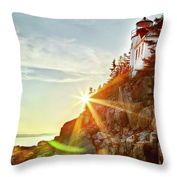 Ocean Sunset On Maine's Bass Harbor Lighthouse Throw Pillow