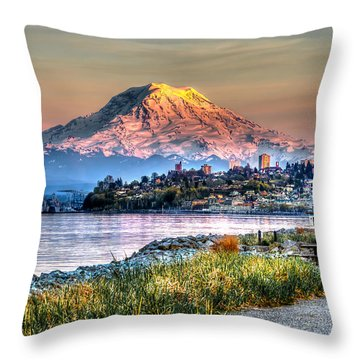 Sunset On Mt Rainier And Point Ruston Throw Pillow