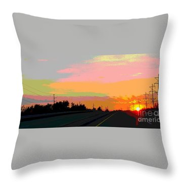 Sunset On Ol' 66 Throw Pillow