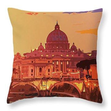Sunset On Rome The Eternal City Throw Pillow