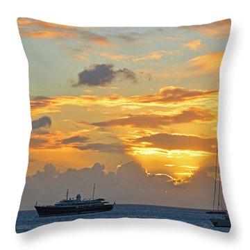 Sunset On Simpon Bay Saint Martin Caribbean Throw Pillow