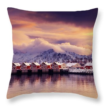 Sunset On Svolvaer Throw Pillow
