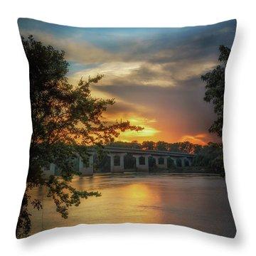 Sunset On The Arkansas Throw Pillow
