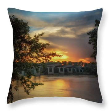 Sunset On The Arkansas Throw Pillow