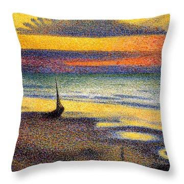 Sunset On The Beach 1891 Throw Pillow