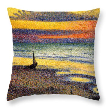 Sunset On The Beach 1891 Throw Pillow