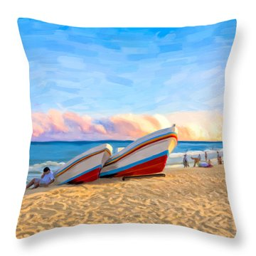 Sunset On The Beach At Playa Del Carmen Throw Pillow by Mark E Tisdale