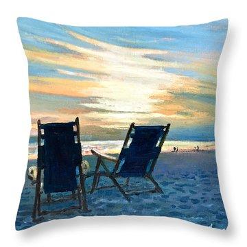 Sunset On The Beach Throw Pillow