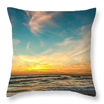 Sunset On The Beach Throw Pillow by Phillip Burrow