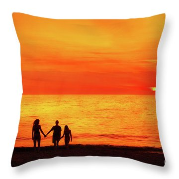 Throw Pillow featuring the digital art Sunset On The Beach by Randy Steele