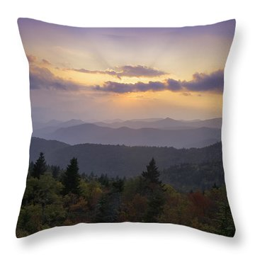 Sunset On The Blue Ridge Parkway Throw Pillow by Rob Travis