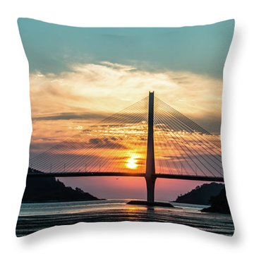 Sunset On The Bridge Throw Pillow
