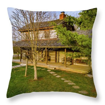 Sunset On The Cabin Throw Pillow