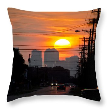 Sunset On The City Throw Pillow by Carolyn Marshall