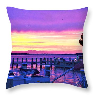Sunset On The Docks Throw Pillow
