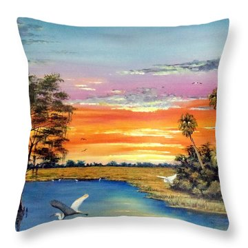 Sunset On The Glades Throw Pillow by Riley Geddings