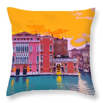 Sunset On The Grand Canal Venice Throw Pillow