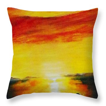 Sunset On The Great Salt Lake Throw Pillow by Sherril Porter