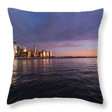 Sunset On The Hudson River Throw Pillow